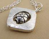 Square Silver Pendant with Flower, Silver Necklace, Sterling Silver, Metal, Modern, Geometric, Ready To Ship, Fall Fashion