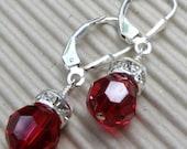 Red Garnet Earrings, Swarovski Crystal, Round Dangle, Bridesmaid Wedding, Handmade Jewelry, Bridal Party, January Birthday