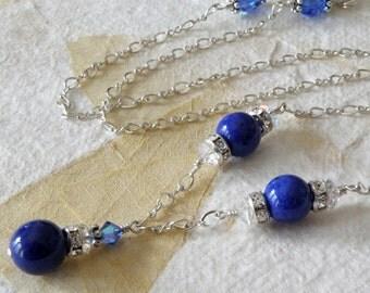 Lapis Lazuli Necklace, Royal Blue Stone Pendant, Sterling Silver, Natural Lapiz, Genuine Stone, Gemstone Pendant, Handmade Jewelry