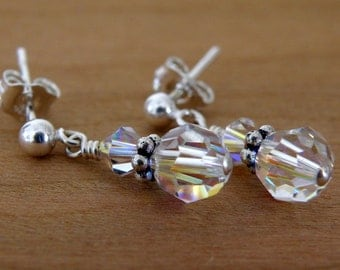 Petite Round Crystal Earrings, Swarovski Clear Crystal, Sterling Silver Posts, Flower Girl Earrings, Bridal Party Wedding Handmade Jewelry
