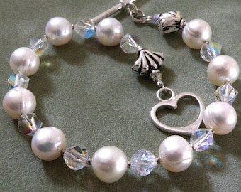 White Pearl Bracelet, Sterling Silver, Real Freshwater Classic Beaded Strand, Heart Clasp, June Birthstone Birthday Gift Handmade Jewelry
