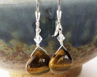 Tigers Eye Earrings, Brown, Chocolate Stone, Sterling Silver, Drop, Handmade Jewelry, Fall Fashion, Autumn