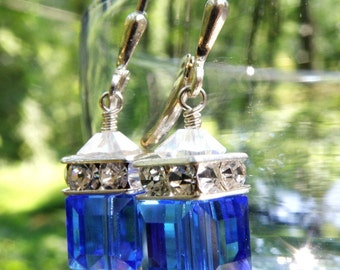 Royal Blue Earrings, Sterling Silver, Swarovski Crystal Sapphire Cube, Bright Blue Dangle, Drop Bridesmaid Wedding Jewelry, Ready To Ship