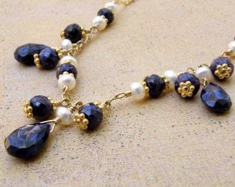 Blue Sapphire Necklace, Navy Blue Wedding Jewelry, Stone Genuine Sapphire Gemstone, Dark Blue Wedding, September Birthstone, Gold Filled
