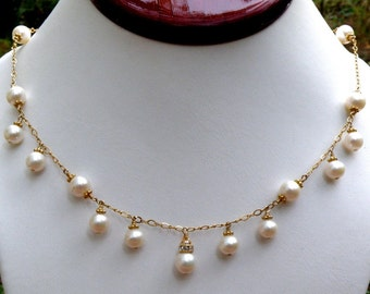 Natural Pearl Necklace, 14k Gold Filled, White Freshwater Pearls, Bridal Wedding For the Bride, June Birthday Gift, Real Birthstone Jewelry