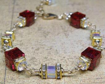 Red Crystal Bracelet, Garnet Swarovski Cube, Gold Filled, Modern Wedding, January Birthday Birthstone, Christmas Holiday Gift, Handmade