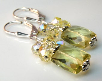Lemon Quartz Earrings, Yellow Stone, Sterling Silver, Citrine Color Gemstone, Handmade Jewelry November Birthstone, Birthday, Spring Fashion