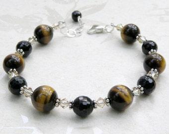 Tiger Eye Bracelet, Black Onyx Stone, Sterling Silver, Swarovski Crystal Accents, Brown Mocha Fall Winter Jewelry, Handmade Gift