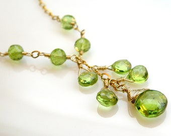 Peridot Necklace, Natural Green Stone, Gold Filled, Y Drop Pendant, Luxe August Birthday Gift, August Birthstone Jewelry, Handmade Wedding