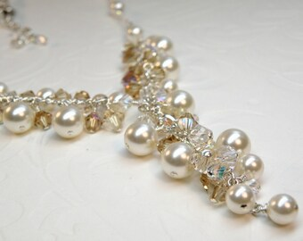 Statement Pearl Necklace, Off White Swarovski Pearls Topaz Crystals, Sterling Silver Wedding Jewelry, Y Drop Bridal Necklace, For the Bride