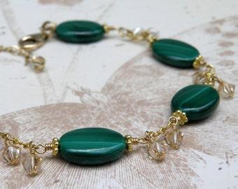 Malachite Bracelet, Gold Filled, Green Gemstone, Emerald Green Color, Swarovski Crystal Clusters, Handmade Jewelry, May Birthday