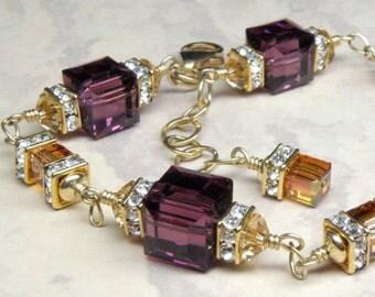 Purple Amethyst Crystal Bracelet, Gold Filled, Plum Swarovski, Bridesmaid Wedding Jewelry, February Birthstone Birthday Gift, Ready To Ship