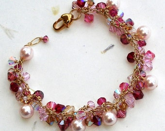 Pink Pearl Bracelet, Cluster, Swarovski Crystal, Gold Filled, Ruby Rose, Handmade Wedding Jewelry, Mother of the Bride, July Birthday