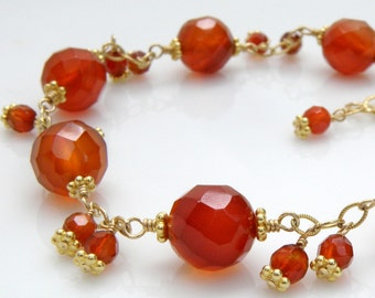 Carnelian Bracelet, Gold Filled, Bright Orange Gemstone, Natural Stone, Tangerine, Coral, Handmade Wedding Jewelry, Fall Fashion Gift