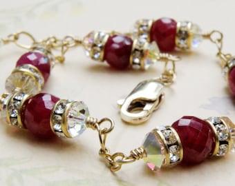 Ruby Bracelet, Red Gemstone, Natural Ruby Stone, Gold Filled, Handmade Jewelry, July Birthstone, Birthday, Women Valentine Gift
