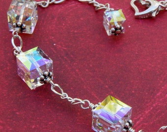 Cube Crystal Bracelet, Sterling Silver, Modern Swarovski Crystal, Ice Clear Moonstone Color, Handmade Wedding Jewelry, Mothers Day Gift