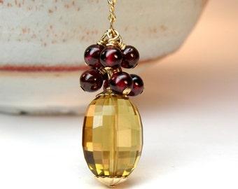 November Birthstone Necklace, Yellow Citrine Garnet, Gold Filled, Genuine Gemstone, Natural Stone, Autumn Fall Fashion, Handmade Birthday