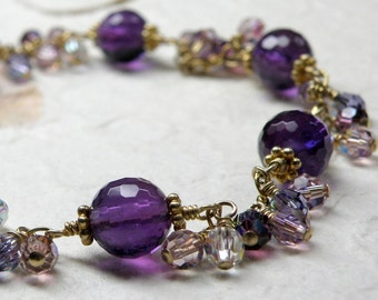 Amethyst Bracelet, Gold Filled, Purple Stone Chain and Link Bracelet, Natural February Gemstone Birthday Gift, Handmade Wedding Jewelry