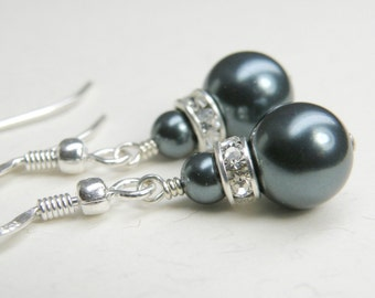 Classic Teal Pearl Earrings,Tahitian Blue Swarovski Drop Pearl Wedding Jewelry, Bridesmaid Bridal Party Gift, Sterling Silver