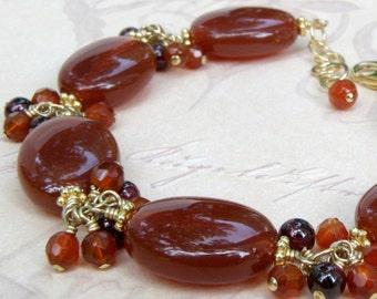 Gold Carnelian Bracelet, Red Orange, Natural Gemstone, Garnets, Gold Filled, Autumn, Handmade Jewelry, Fall Fashion