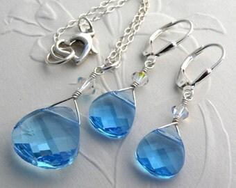 Aquamarine Crystal Jewelry Set, Teardrop Swarovski, Teal Blue Pendant, Earrings, Bridesmaid Gift, Teen Girl, Spring Wedding Something Blue