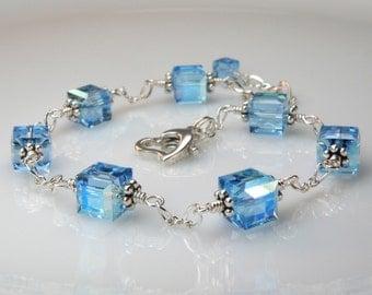Blue Crystal Bracelet, Blue Topaz Color Swarovski Petite Cube, Sterling Silver, Bridesmaid Spring Wedding, Handmade Jewelry, March Birthday
