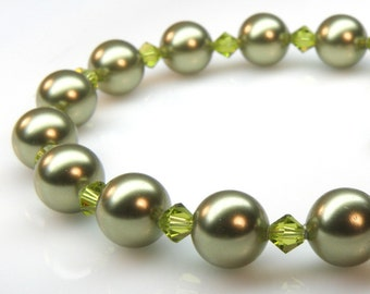 Green Pearl Bracelet, Sterling Silver, Light Olive Swarovski Pearl, Classic Bridesmaid Gift, Spring Wedding Handmade Jewelry