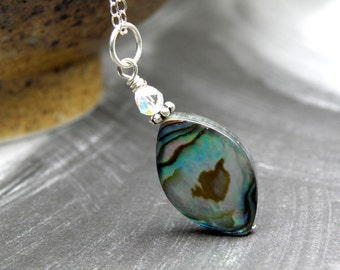 Abalone Shell Pendant, Paua Necklace Sterling Silver, Green Shell Cats Eye, Beach Wedding Jewelry, Summer Handmade Gift
