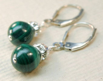 Green Earrings, Malachite Stone, Emerald Color Gemstone Earrings, Sterling Silver, Dangle, Handmade Jewelry, Fall Fashion, Autumn