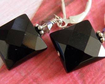 Black Onyx Earrings, Black Stone Earrings, Square Onyx Earrings, Faceted Gemstone, Dangle, Sterling Silver Handmade Jewelry, Fall Fashion
