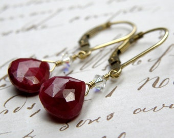 Ruby Earrings, Red Birthstone Jewelry, Ruby Teardrop Gemstone, Ruby and Gold Filled Handmade Jewelry, July Birthday
