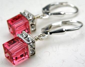 Petite Pink Crystal Earrings, Sterling Silver, Swarovski Cube Drop, Warm Pink, Watermelon Bridesmaid, Spring Wedding Jewelry, Handmade Gift