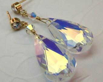 Large Teardrop Shaped Clear Crystal Earrings, Bridal Jewelry, Wedding Earrings, Swarovski Crystal Tear Drop Earrings, 14k Gold Filled