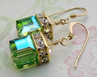 Green Cube Earrings, Peridot, Gold Filled, Apple Swarovski Crystal, Wedding Bridesmaid Jewelry, Handmade, Birthstone August Birthday, Dangle
