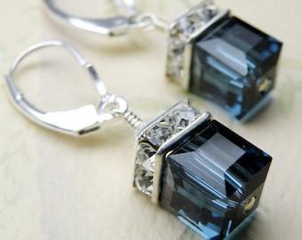 Sapphire Blue Earrings, Cube Swarovski Crystal, Sterling Silver, Drop Wedding Jewelry, Bridesmaid, September Birthday Birthstone, Handmade