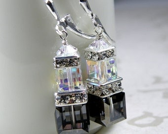Black Crystal Earrings, Clear Swarovski Cube, Sterling Silver Dangle, Formal Bridesmaid Wedding Jewelry, Dressy Bridal Party Gift, Handmade