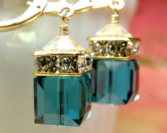 Dark Teal Crystal Earrings, Gold Filled, London Blue Topaz Swarovski Crystal, Bridesmaid Wedding Jewelry, Handmade Gift Autumn Ready To Ship