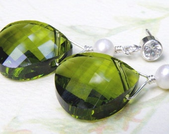 Olive Swarovski Earrings, Sterling Silver Cubic Zirconia Posts, Freshwater Pearl, Green Tourmaline Teardrop Crystal, Statement Jewelry Gift