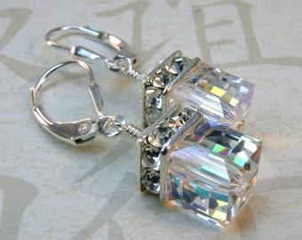 Drop Cube Earrings, Clear Swarovski Crystal, Sterling Silver, Opal Wedding Jewelry, Bridesmaid Gift, October Birthday, Birthstone, Handmade