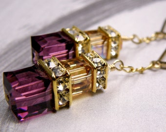 Amethyst Swarovski Cube Earrings, Purple Crystal Earrings, Plum Wedding Jewelry, Yellow Topaz, Gold, Handmade Jewelry, February Birthday
