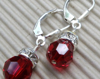 Red Garnet Earrings, Swarovski Crystal, Round Dangle, Bridesmaid Wedding, Handmade Jewelry, Bridal Party, January Birthday