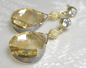 Gold Champagne Crystal Earrings, Gold Filled, Teardrop Yellow Topaz Swarovski, Drop Bridesmaid Wedding Jewelry, November Birthday Gift