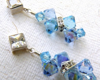 Blue Topaz Crystal Earrings, Aquamarine, Light Sapphire, Swarovski Crystal, Sterling Silver, Bridal Something Blue, Wedding Handmade Jewelry