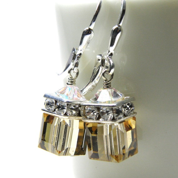 Champagne Crystal Earrings, Yellow, Drop, Dangle, Silver, Swarovski, Bridesmaid, Bridal, Wedding, Handmade Jewelry, November Birthday