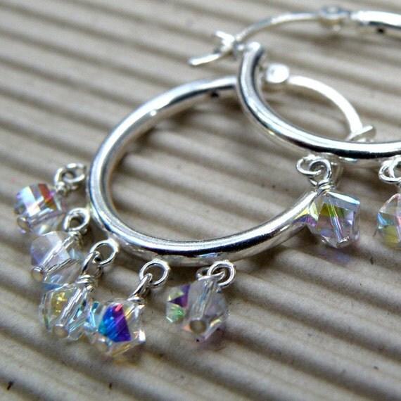 Silver Hoop Earrings, Swarovski Crystals, Sterling Silver, Dangle, Handmade Jewelry