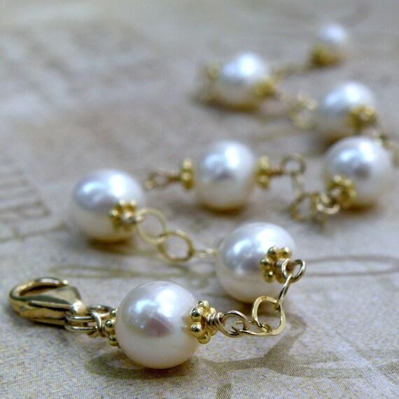 Freshwater Pearl Bracelet, Ivory, Gold Filled, Handmade Bridal Wedding Jewelry, Genuine Classic, June Birthday Birthstone, Mothers Day Gift