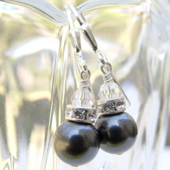 Drop Pearl Earrings, Charcoal Gray, Black Pearl, Bridesmaids, Bridal Party, Wedding, Handmade Jewelry, Fall Fashion