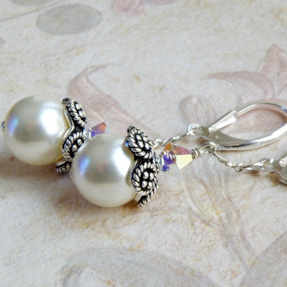 Silver and Pearl Earrings, Bali Flower Cap, Handmade Jewelry