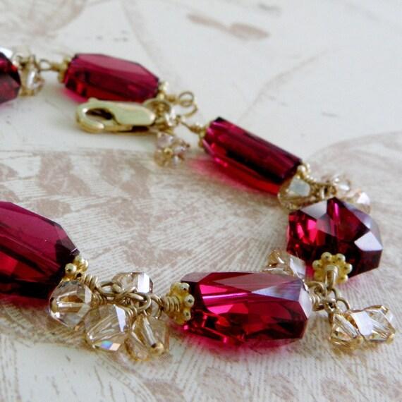 Ruby Crystal Bracelet, Gold Filled, Red Swarovski, Magenta Wedding Jewelry, Statement, July Birthday Birthstone, Mothers Day Gift