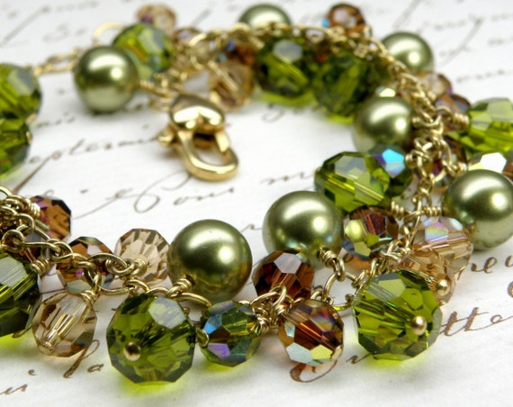 Olive Green Bracelet, Gold Filled, Swarosvki Crystals, Pearls Green Cluster Bracelet, Autumn Wedding Jewelry, Fall, For Mother of the Bride